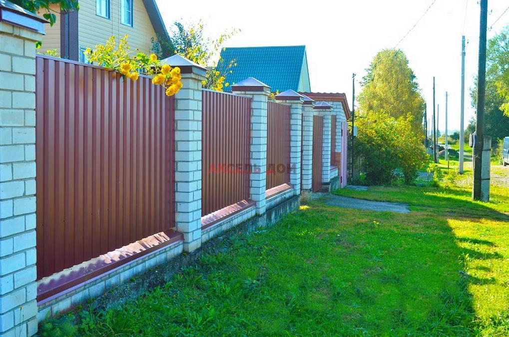 комбинированный забор кирпич и профильный лист